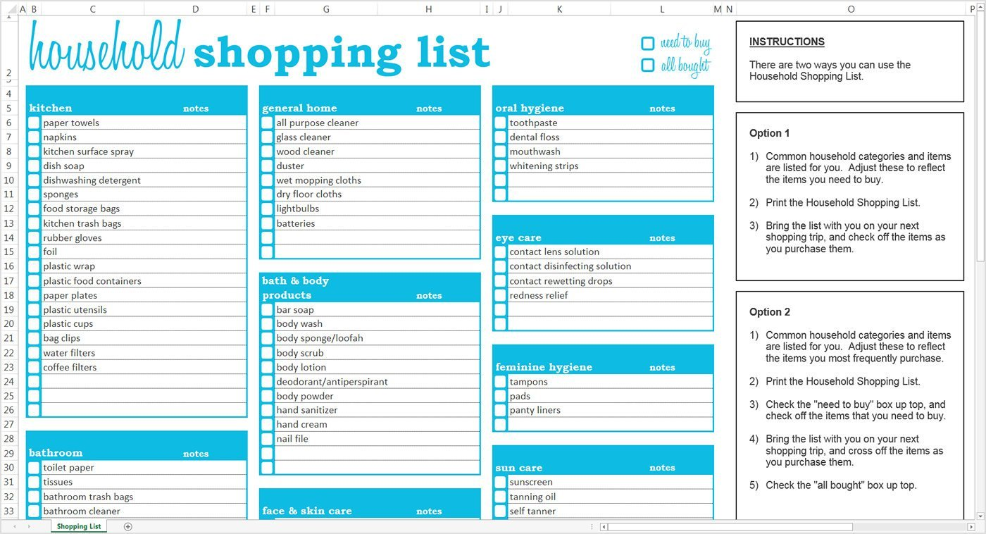 Templates For Grocery List Template Excel For Grocery List Template Excel Template