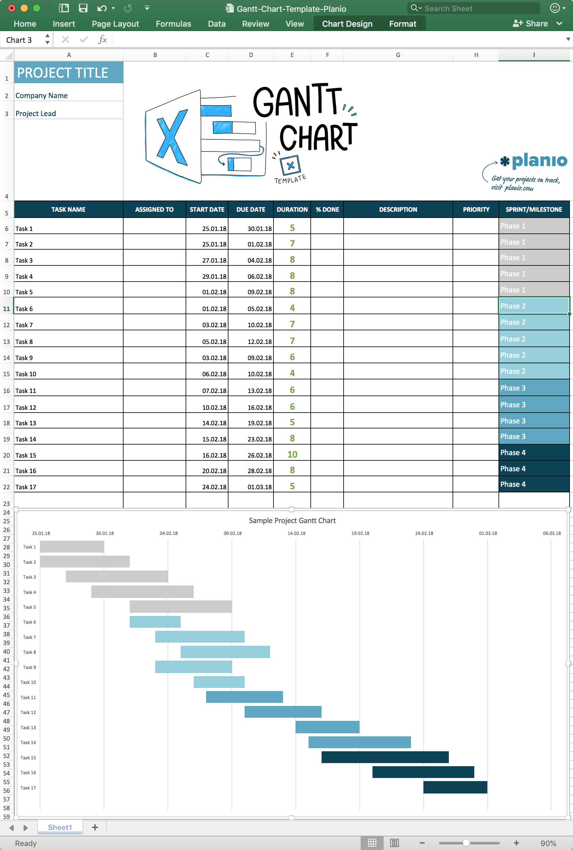 Templates For Project Schedule Gantt Chart Excel Template With Project Schedule Gantt Chart Excel Template Printable