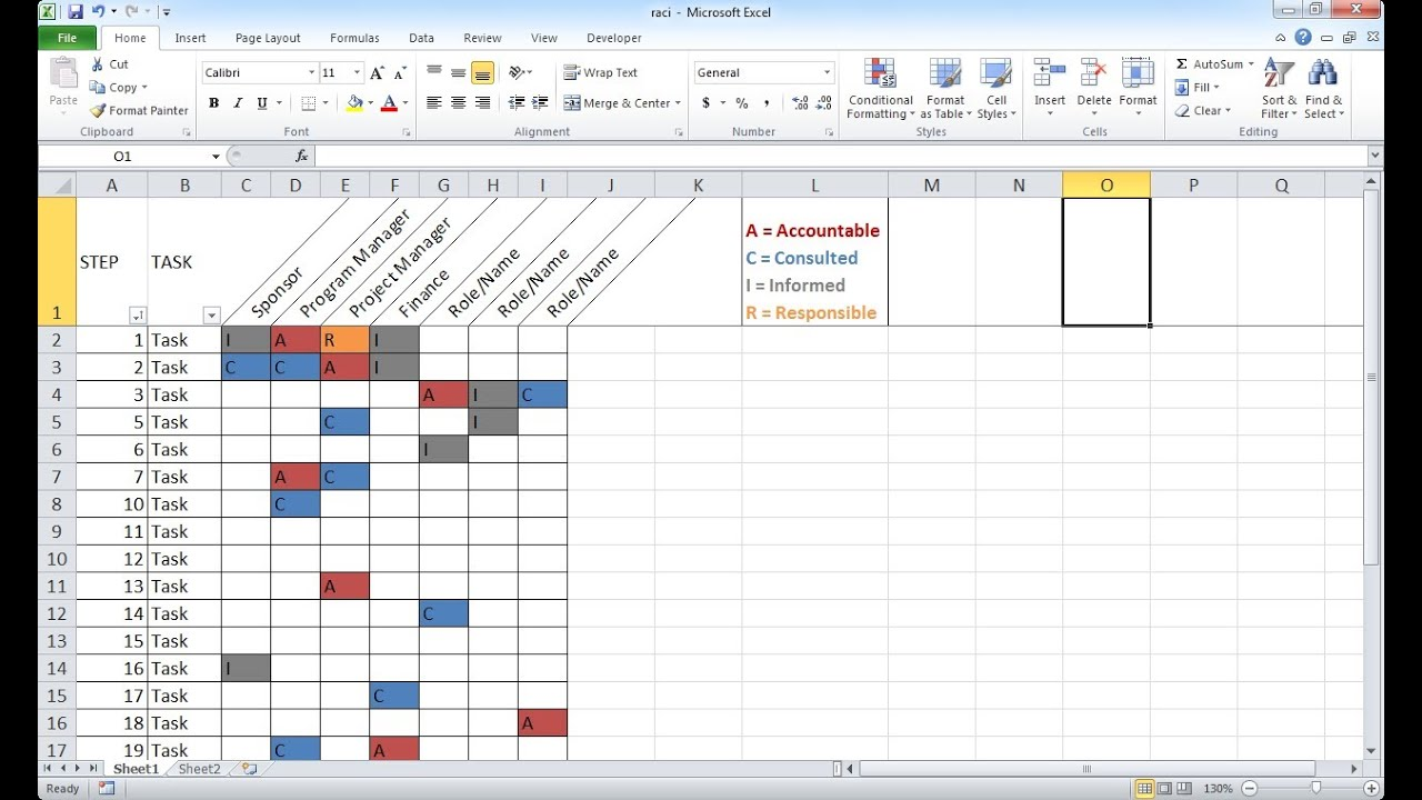 Templates For Raci Template Excel In Raci Template Excel Format