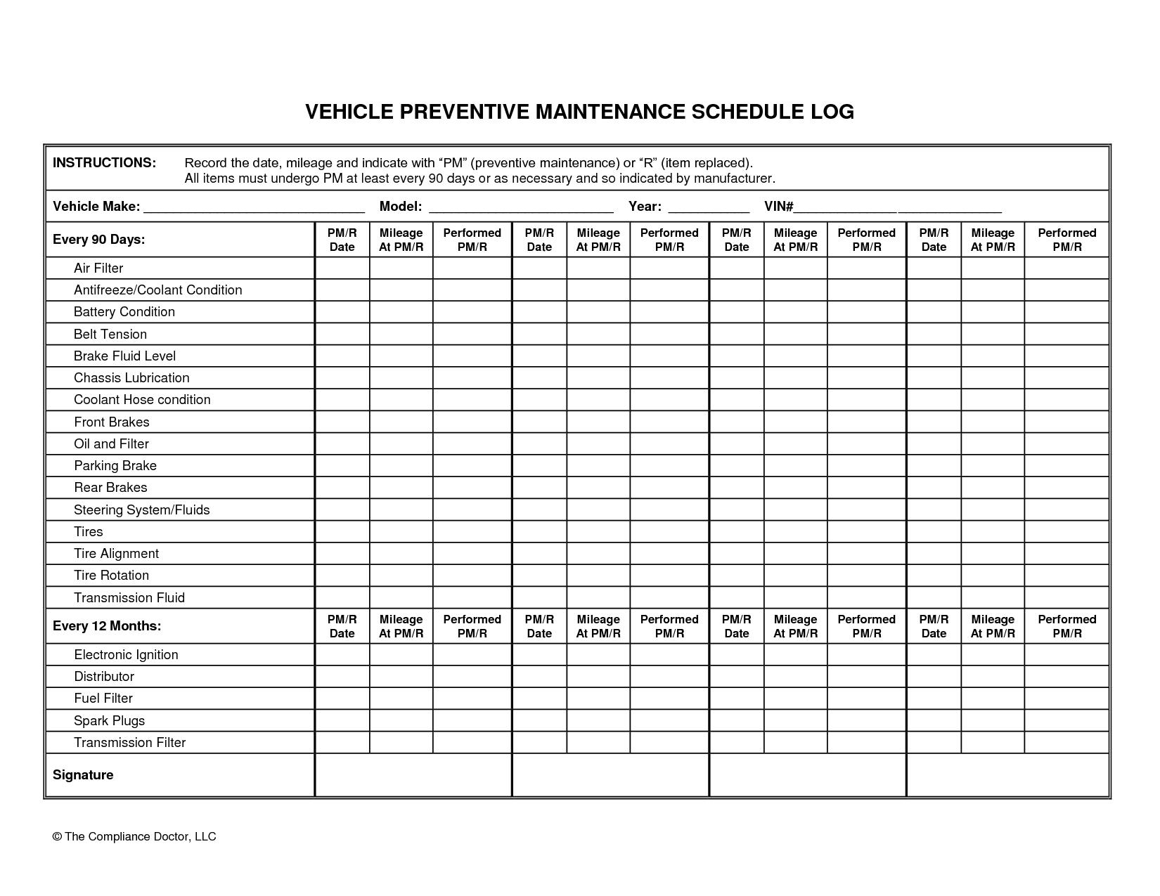 Templates For Truck Maintenance Schedule Excel Template Intended For Truck Maintenance Schedule Excel Template Xlsx