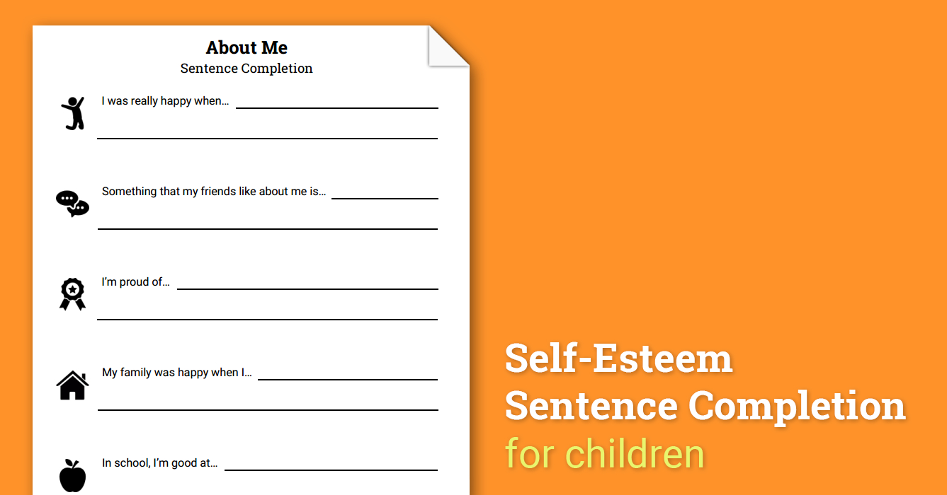 About Me Selfesteem Sentence Completion Worksheet  Therapist Aid With Regard To Self Esteem Therapy Worksheets