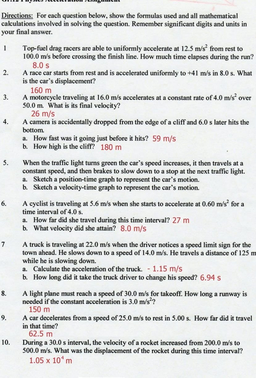Acceleration Calculations Worksheet Answers  Briefencounters Throughout Acceleration Calculations Worksheet Answers