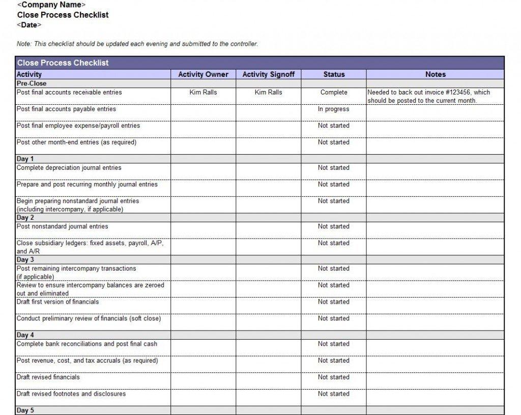 Accounting Book Closing Checklist | Accounting Book Checklist With Month End Accounting Checklist Template