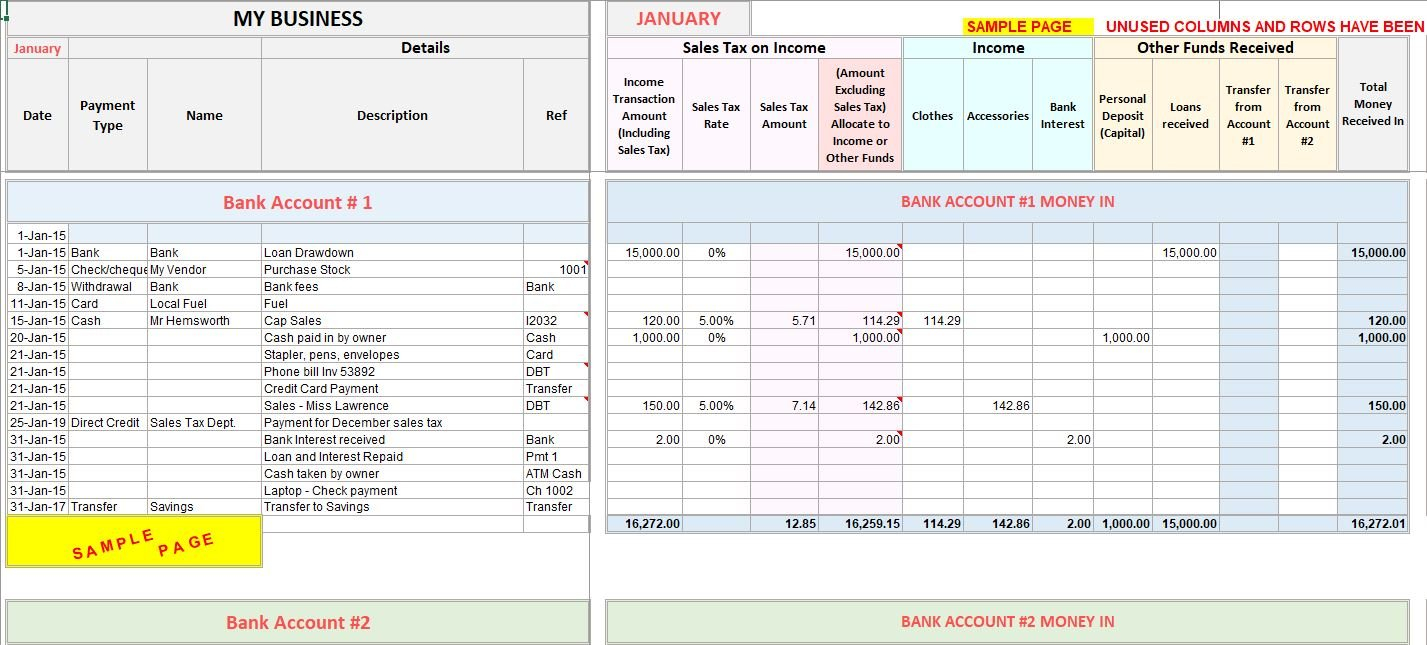 Accounting Excel Template | Income Expense Tracker With Sales Tax For Excel Templates For Accounting