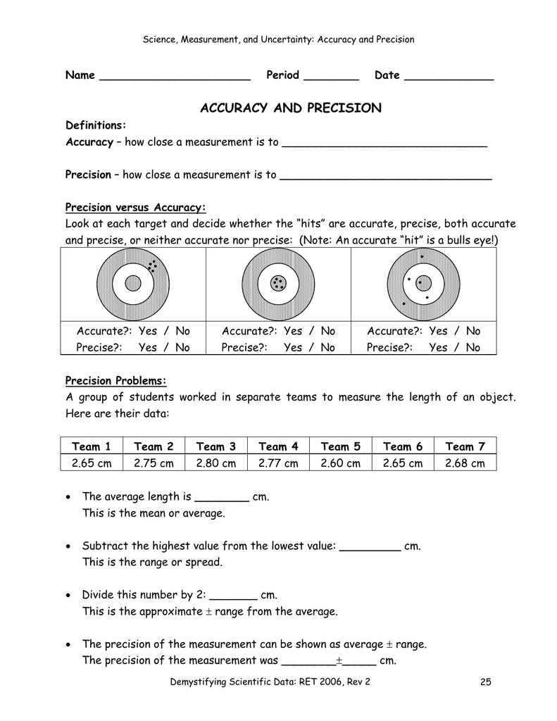 Accuracy And Precision Throughout Accuracy And Precision Chemistry Worksheet Answers
