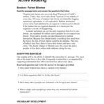 Active Reading Forest Biomes As Well As Skills Worksheet Active Reading