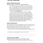 Active Reading Water Resources Inside Skills Worksheet Active Reading