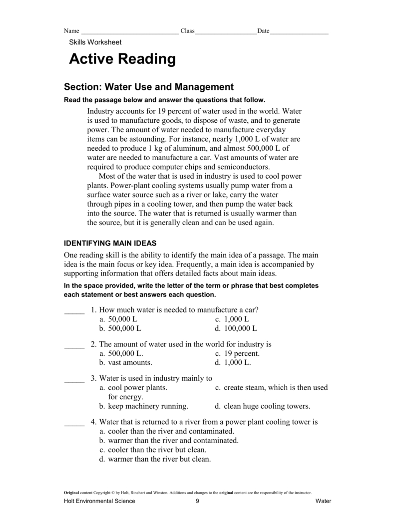 Active Reading Water Use And Management For Skills Worksheet Active Reading Answer Key