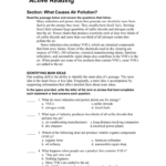 Active Reading What Causes Air Pollution Inside Skills Worksheet Active Reading