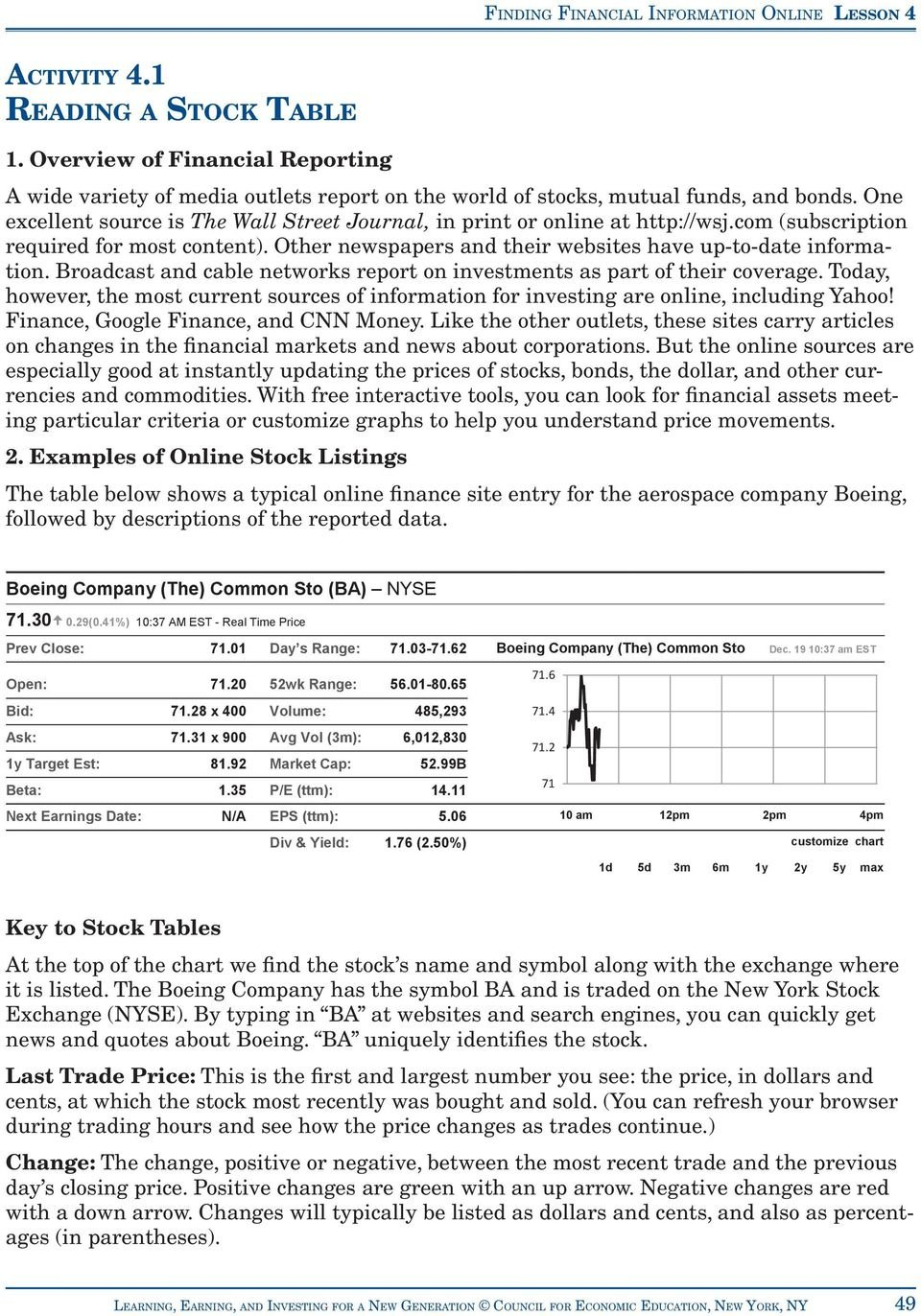 Activity 41 Reading A Stock Table  Pdf Also Reading A Stock Table Worksheet Answers