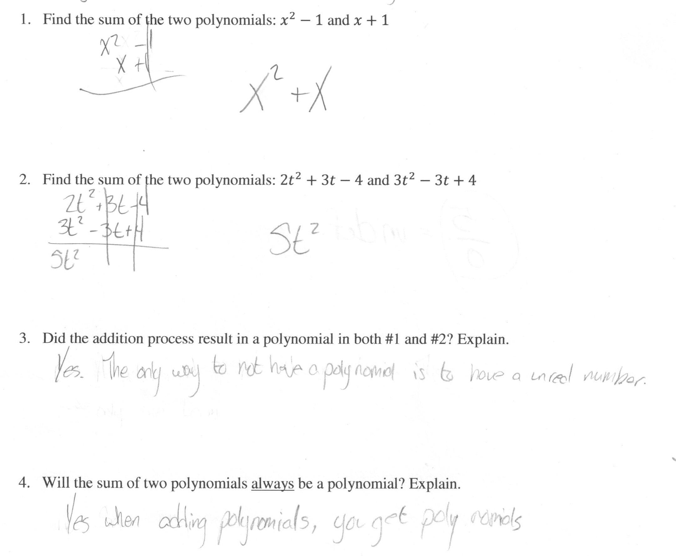 Adding Polynomials Students Are Asked To Find The Sum Of Two Inside Adding Polynomials Worksheet Pdf