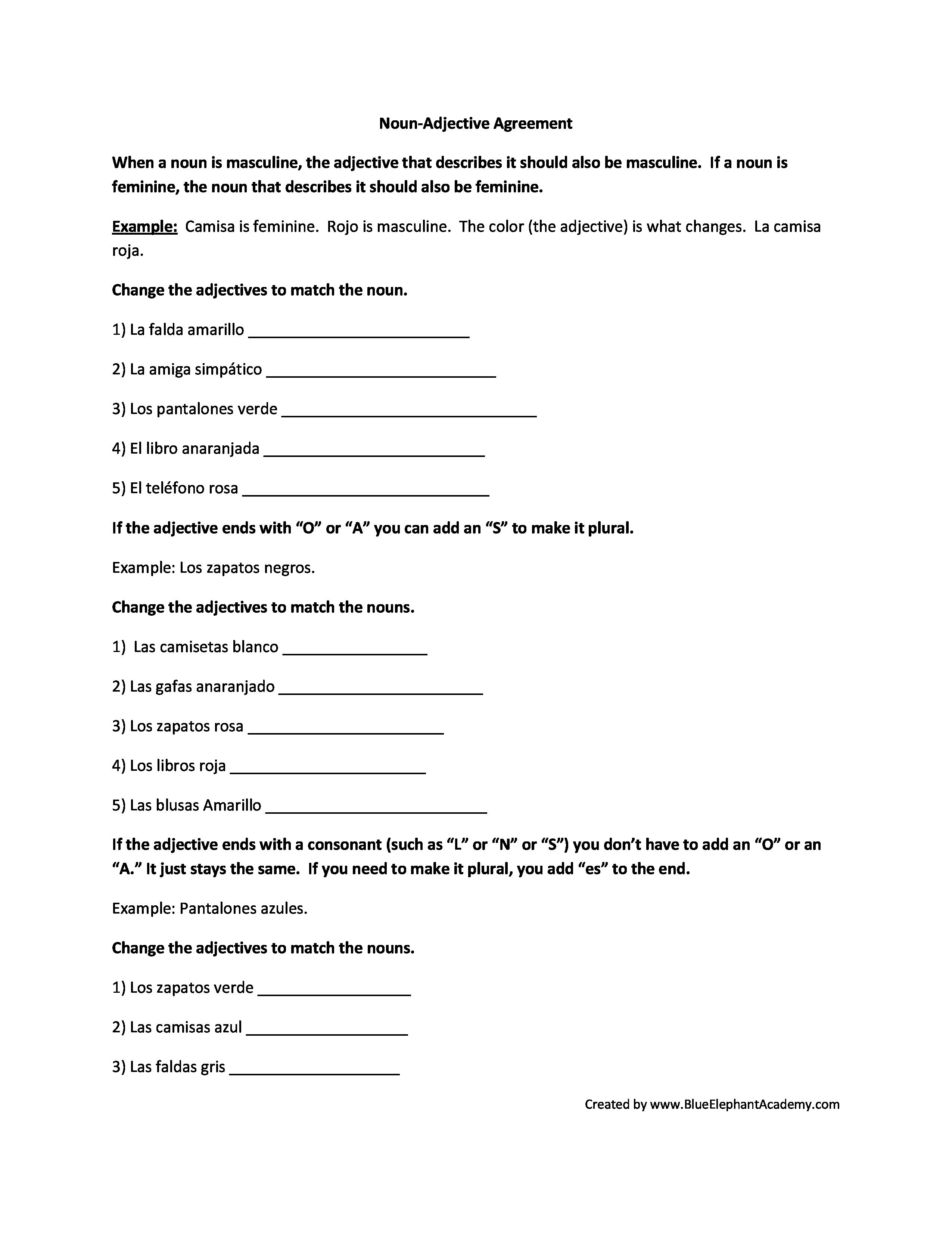 Adjectives  Lessons  Tes Teach Together With Spanish Adjectives Worksheet