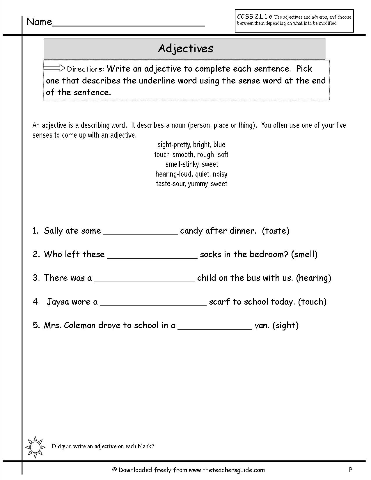 Adjectives Worksheets From The Teacher's Guide As Well As Words Used As Nouns And Adjectives Worksheet