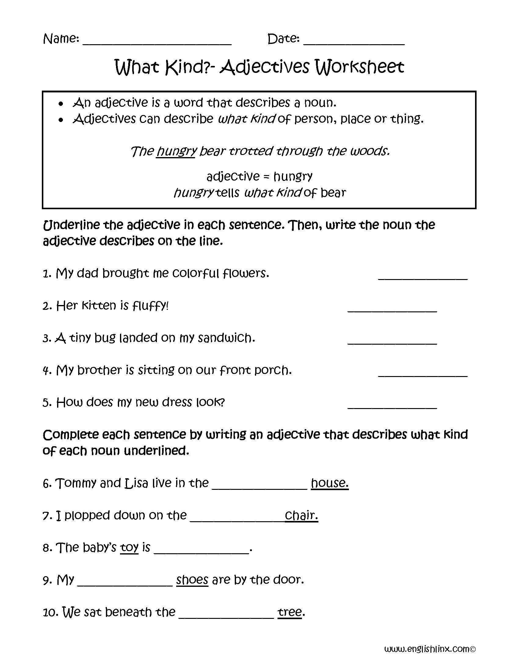 Adjectives Worksheets  Regular Adjectives Worksheets With Regard To Adjectives Worksheets For Grade 4
