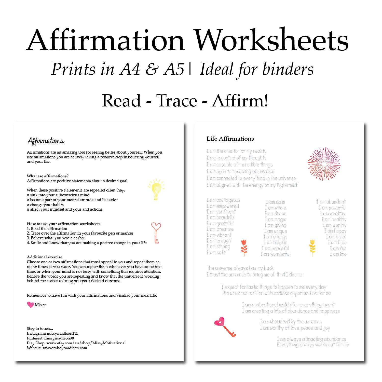 Affirmation Worksheets Manifestation Law Of Attraction  Etsy With Regard To Law Of Attraction Worksheets