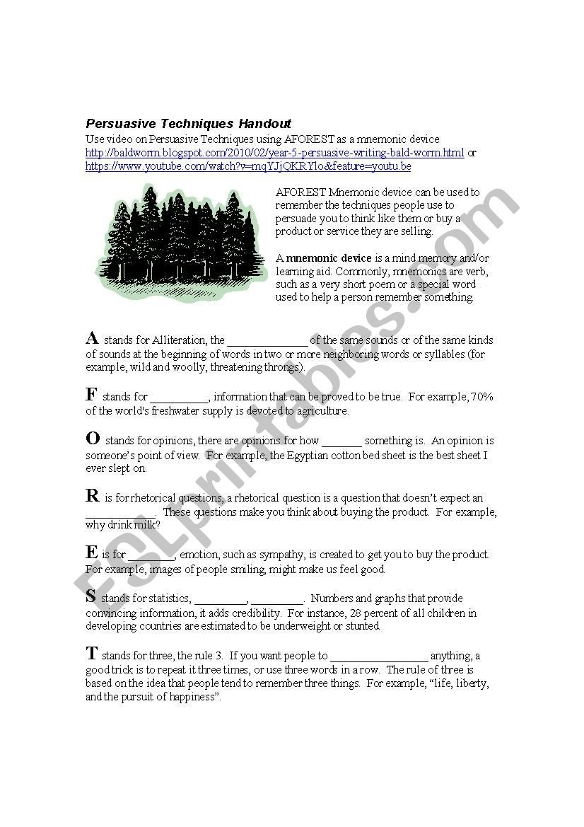 Aforest Persuasive Techniques  Esl Worksheet826Dk With Persuasive Techniques Worksheets