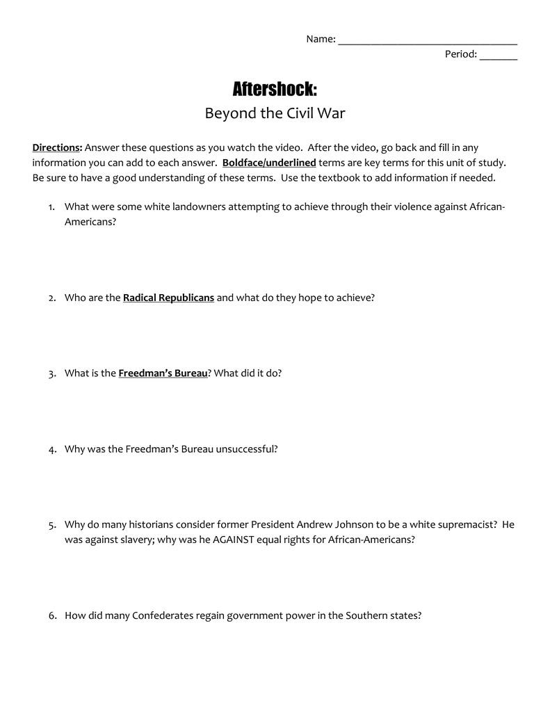 Aftershock Beyond The Civil War As Well As Freakonomics Movie Worksheet Answers