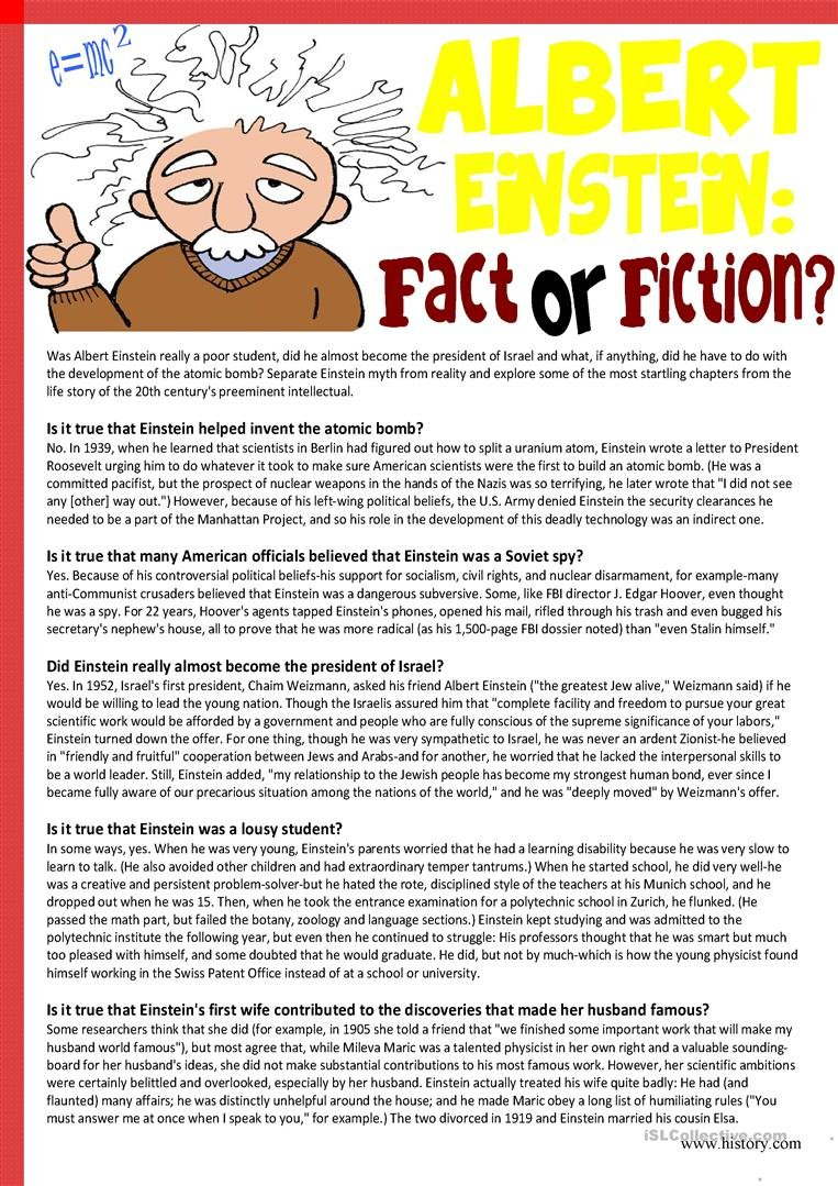 Albert Einsteinfact Or Fiction Reading Comprehension Worksheet For Free Science Reading Comprehension Worksheets