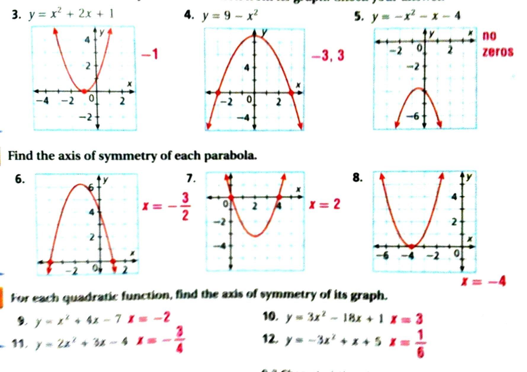 Algebra 1 Quadratic Formula Worksheet Answers Math Characteristics With Regard To Graphing Quadratics Review Worksheet Answers