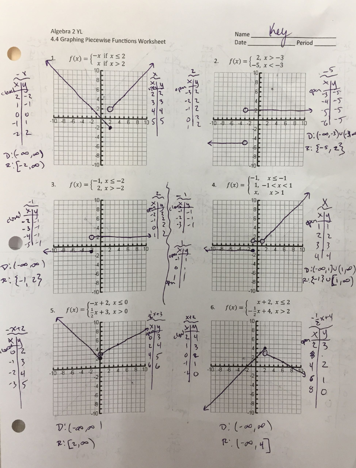 Algebra 2 Yl 44 Graphing Piecewise Functions 2 Yl 44 Graphing For Piecewise Functions Worksheet 1 Answers