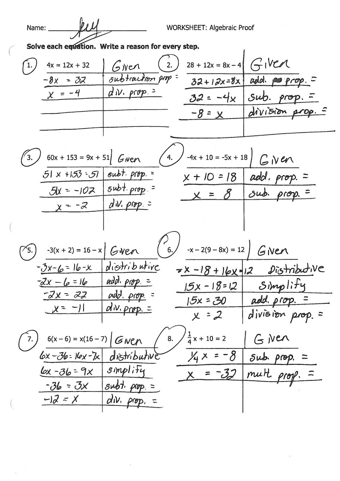 Algebraic Proofs Worksheet With Answers Inequalities Worksheet Within Algebraic Proofs Worksheet With Answers