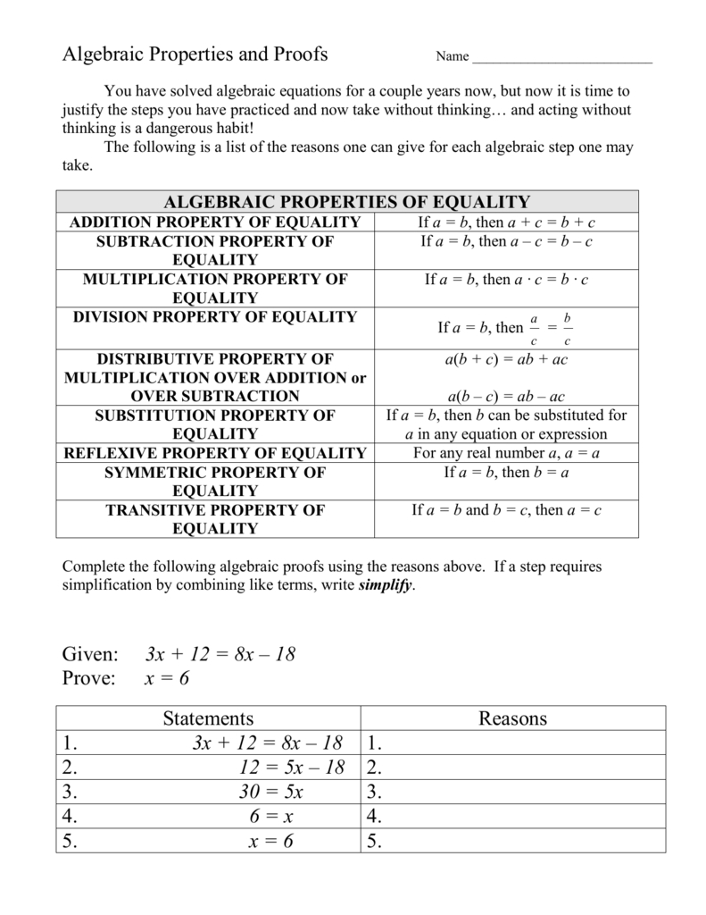 Algebraic Properties And Proofs Also Algebraic Proofs Worksheet With Answers