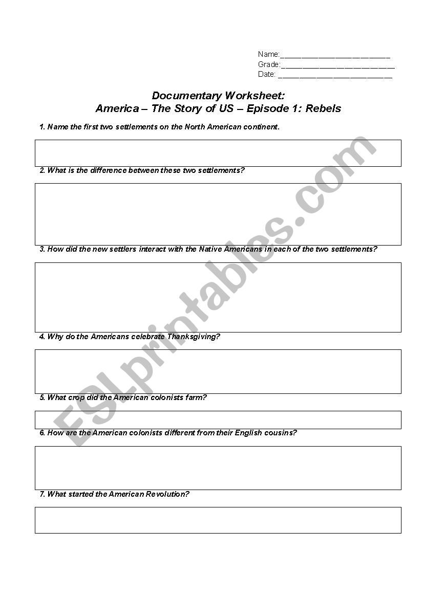 America The Story Of Us Worksheet  Episode 1  Rebels  Esl And America The Story Of Us Worksheets