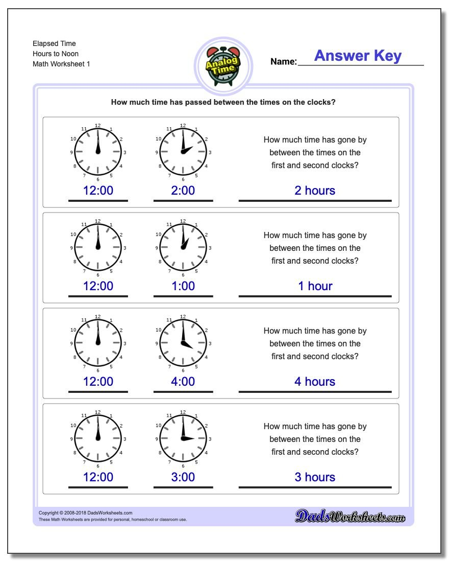 Analog Elapsed Time Also Adding And Subtracting Time Worksheets