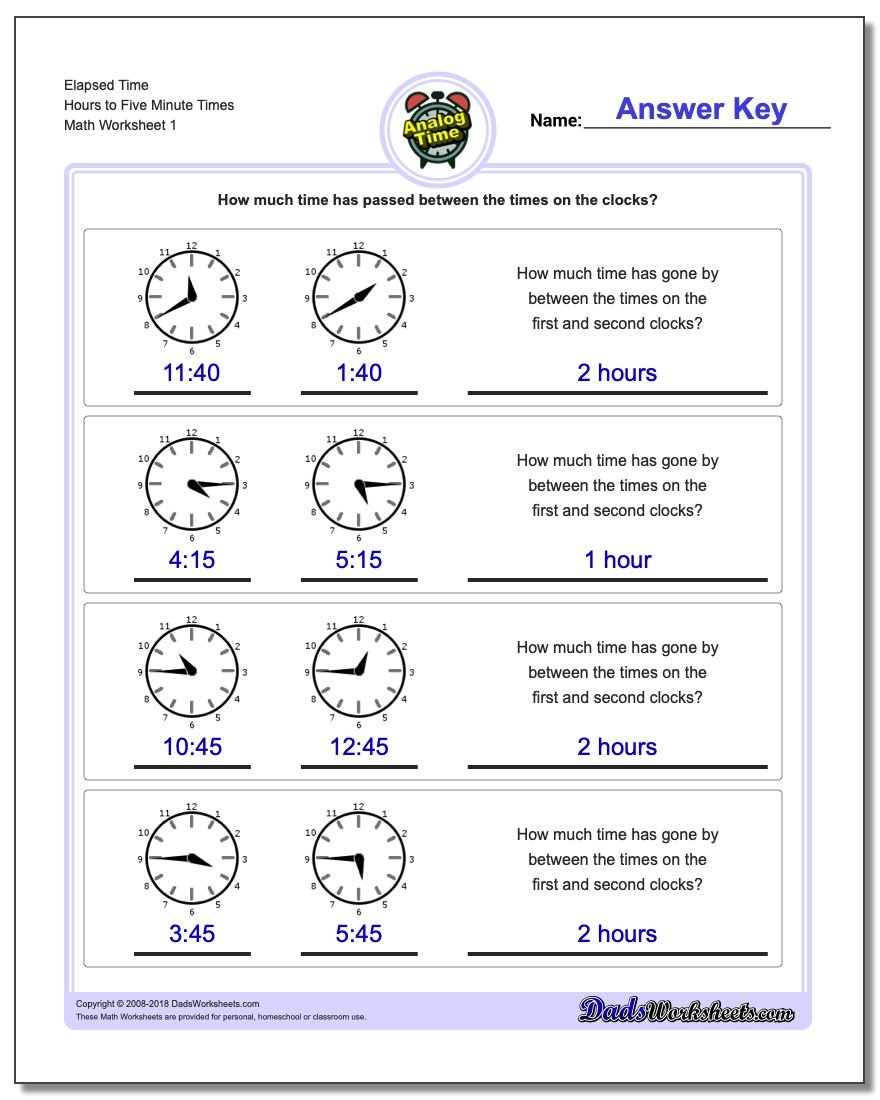 Analog Elapsed Time Together With Time Worksheets For Grade 1