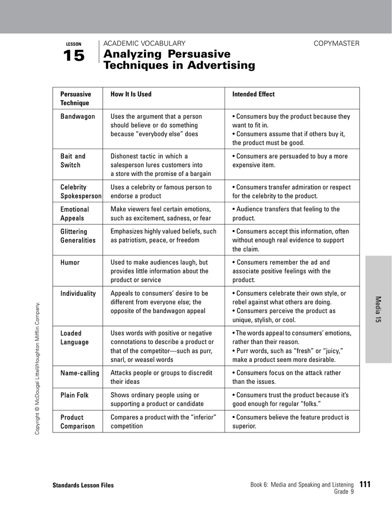 Analyzing Persuasive Techniques In Advertising And Persuasive Techniques In Advertising Worksheet Answer Key