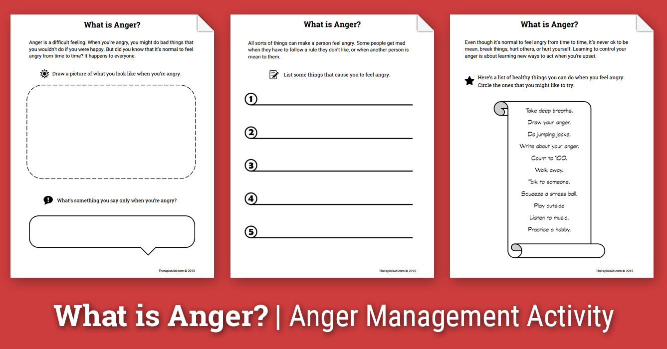 Anger Activity For Children What Is Anger Worksheet  Therapist Aid For Anger Management Worksheets Pdf