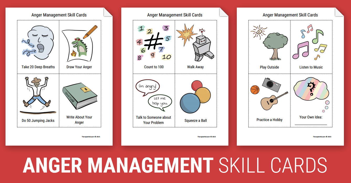 Anger Management Skill Cards Worksheet  Therapist Aid In Anger Management Worksheets For Kids Pdf