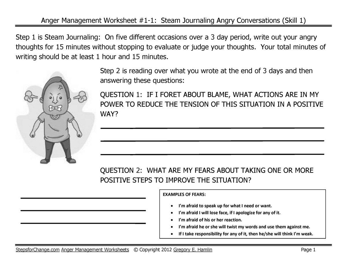 Anger Management Worksheet 11 Steam Journaling Angry Or Anger Management Worksheets