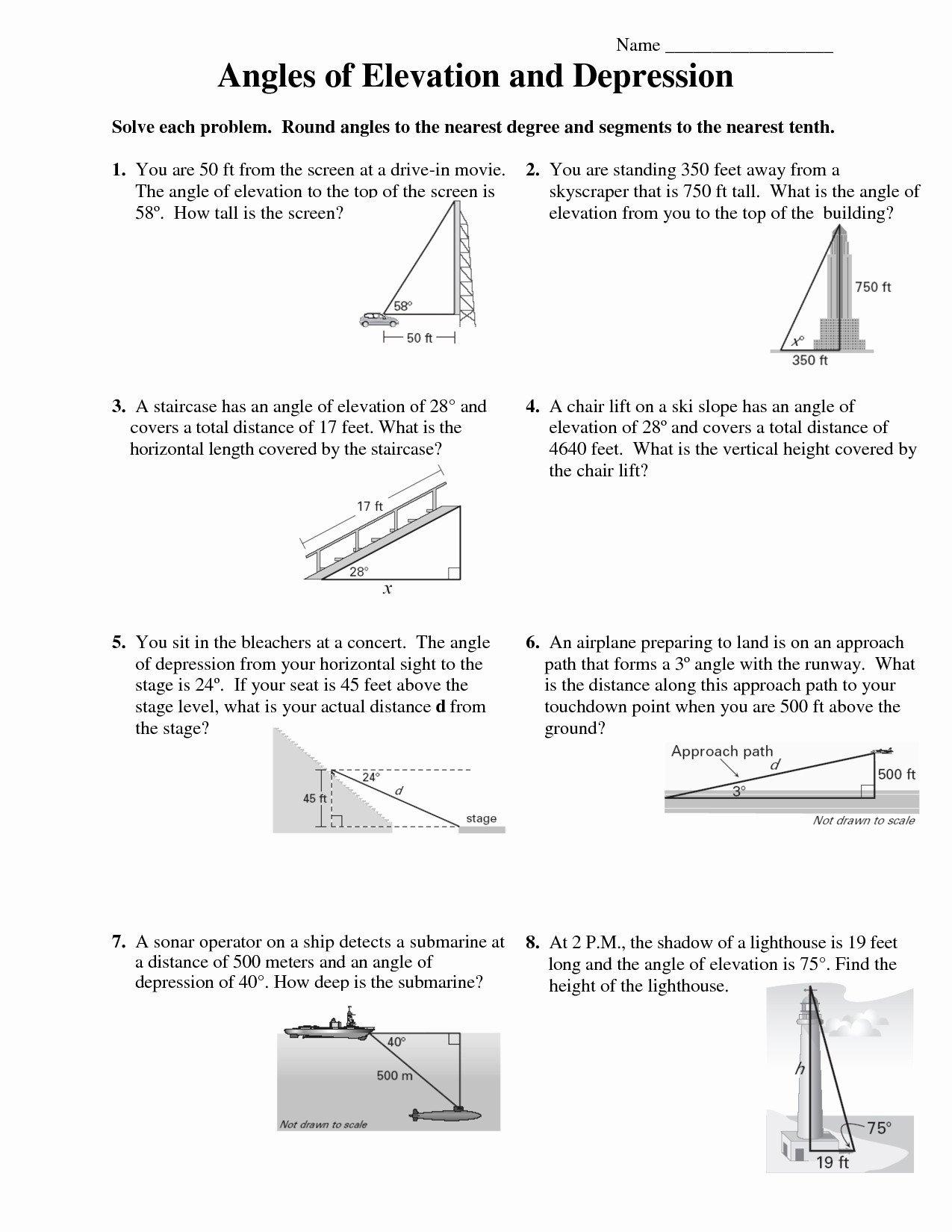 Angle Of Elevation And Depression Worksheet With Answers  Yooob Also Angle Of Elevation And Depression Worksheet With Answers