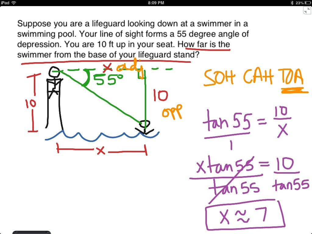 Angles Of Elevation And Depression  Math Trigonometry Trig For Angle Of Elevation And Depression Worksheet With Answers