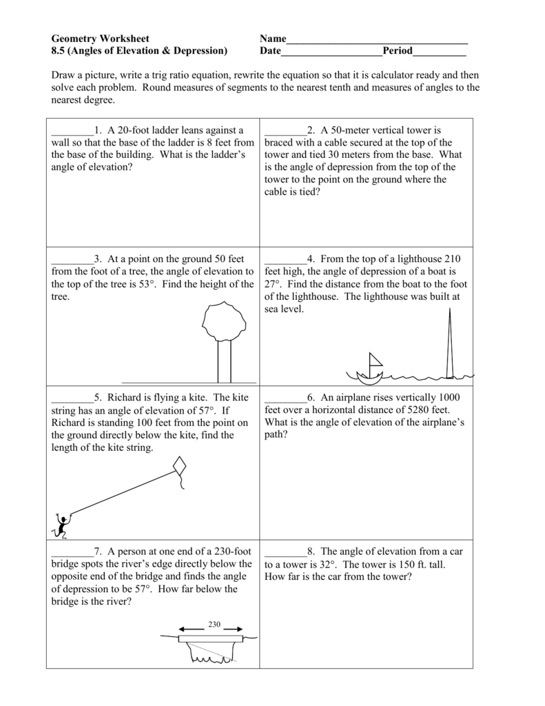 Angles Of Elevation  Depression Throughout Angle Of Elevation And Depression Worksheet With Answers