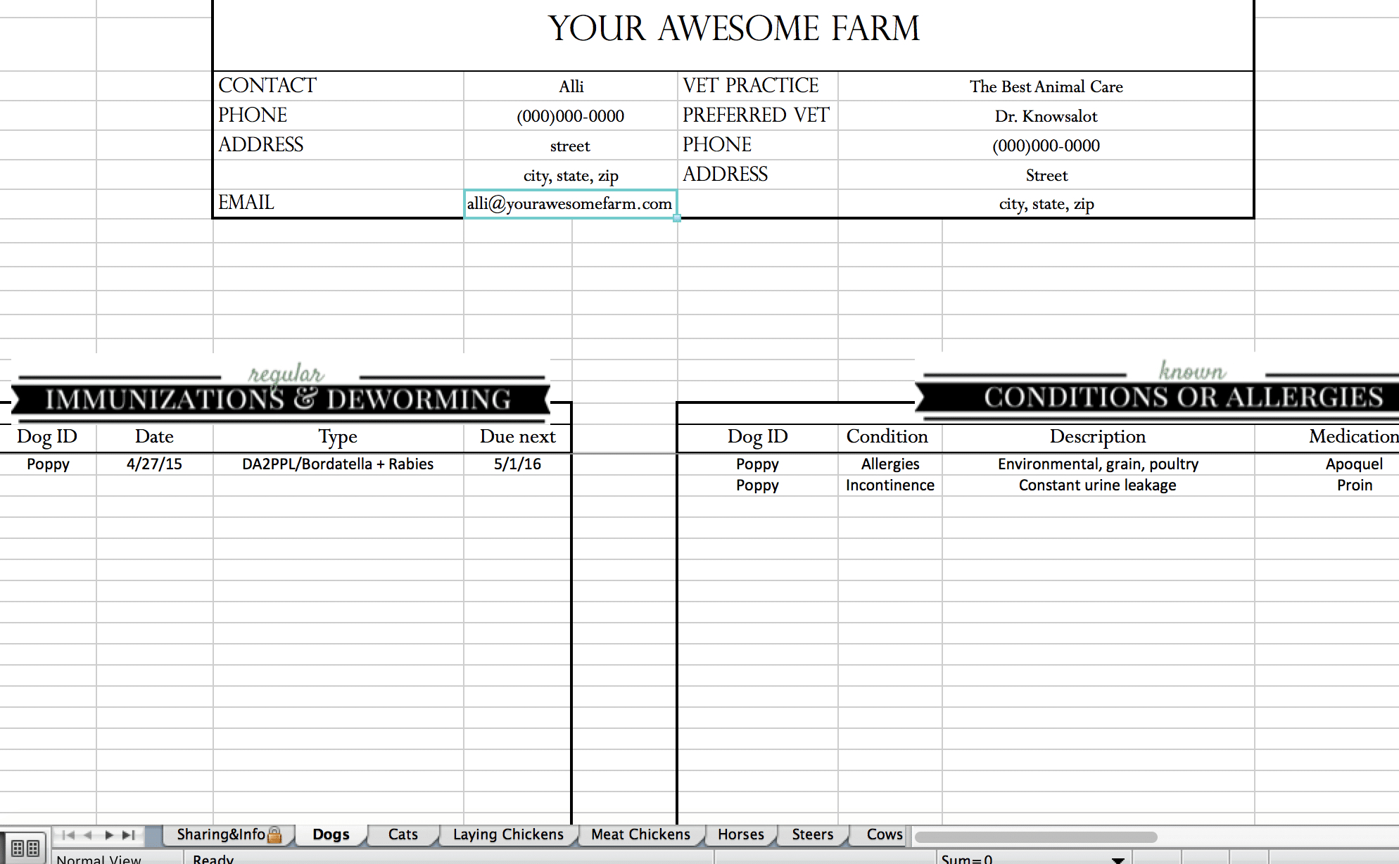 Animal Records Spreadsheet Also Cattle Spreadsheets For Records