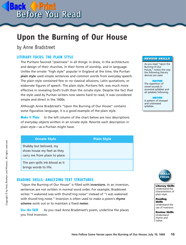 "Anne Bradstreet ""upon The Burning Of Our House"" For Anne Bradstreet Worksheet Answers"