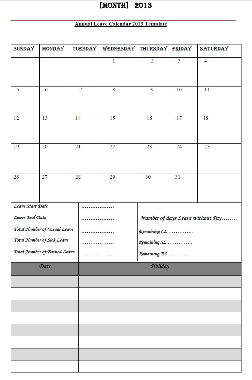 Annual Leave Calendar 2013, Annual Leave Calendar 2013 Template ... For Employee Annual Leave Record Spreadsheet