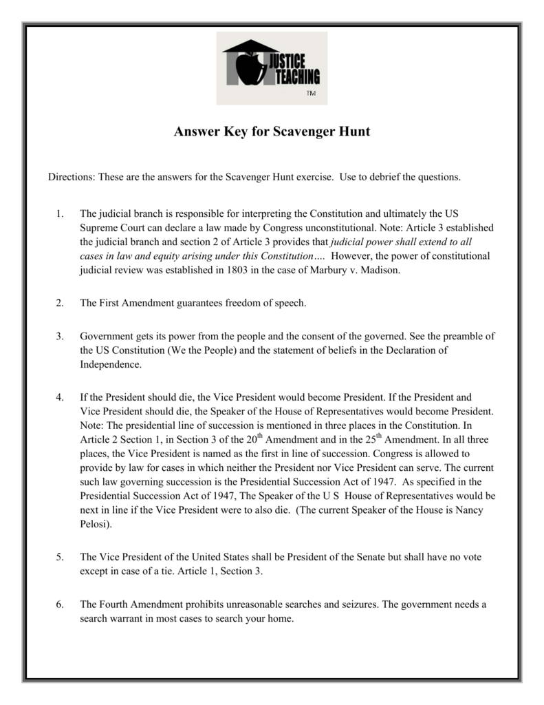 Answer Key For The Us Constitution Scavenger Hunt Inside Constitution Scavenger Hunt Worksheet