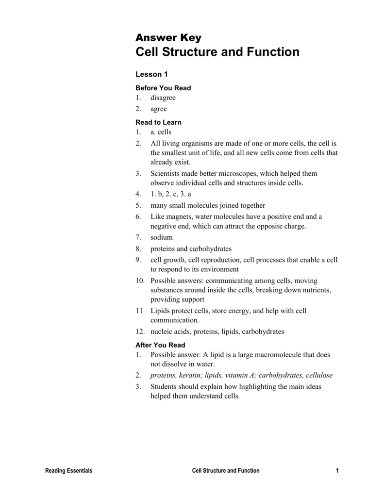 Answer Key Reading Essentials C2 Cell Structure And Function Also Lesson 7 2 Cell Structure Worksheet Answers