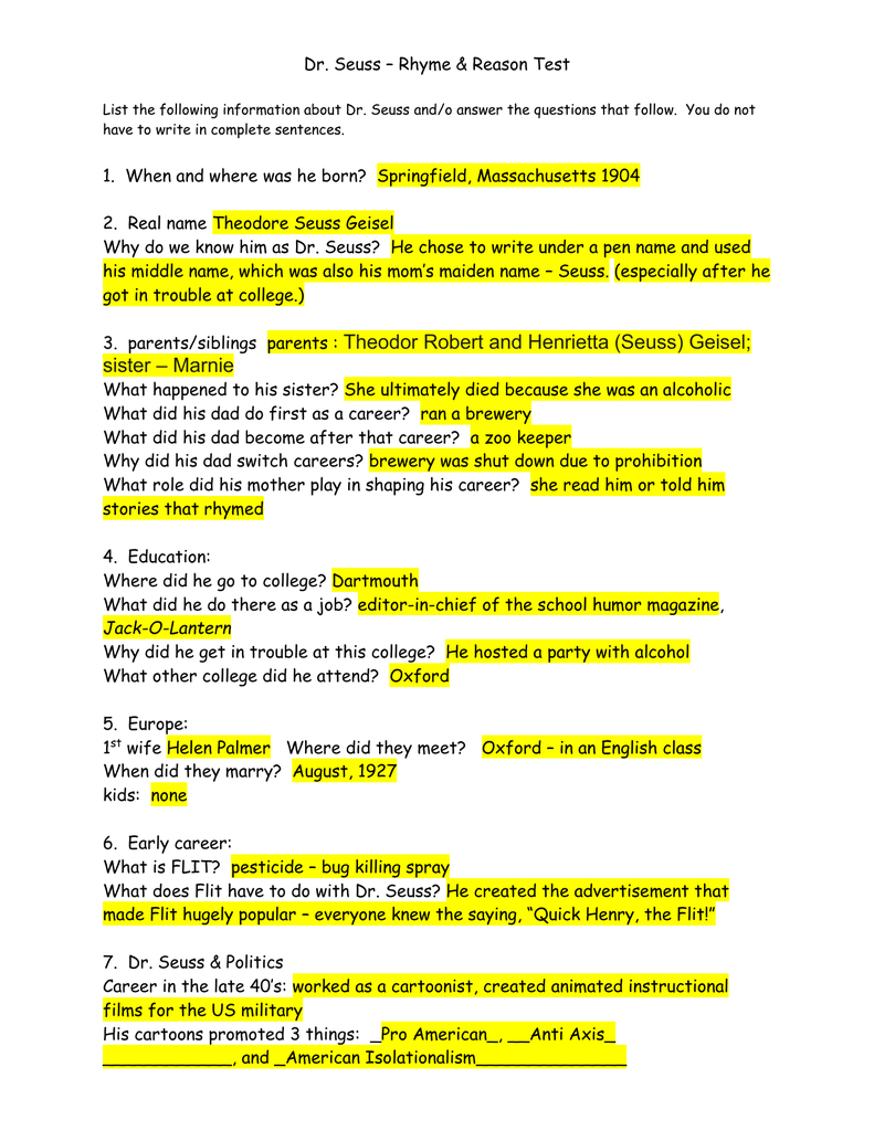 Answers Dr Seuss Rhymes And Reason Test For The Lorax By Dr Seuss Worksheet