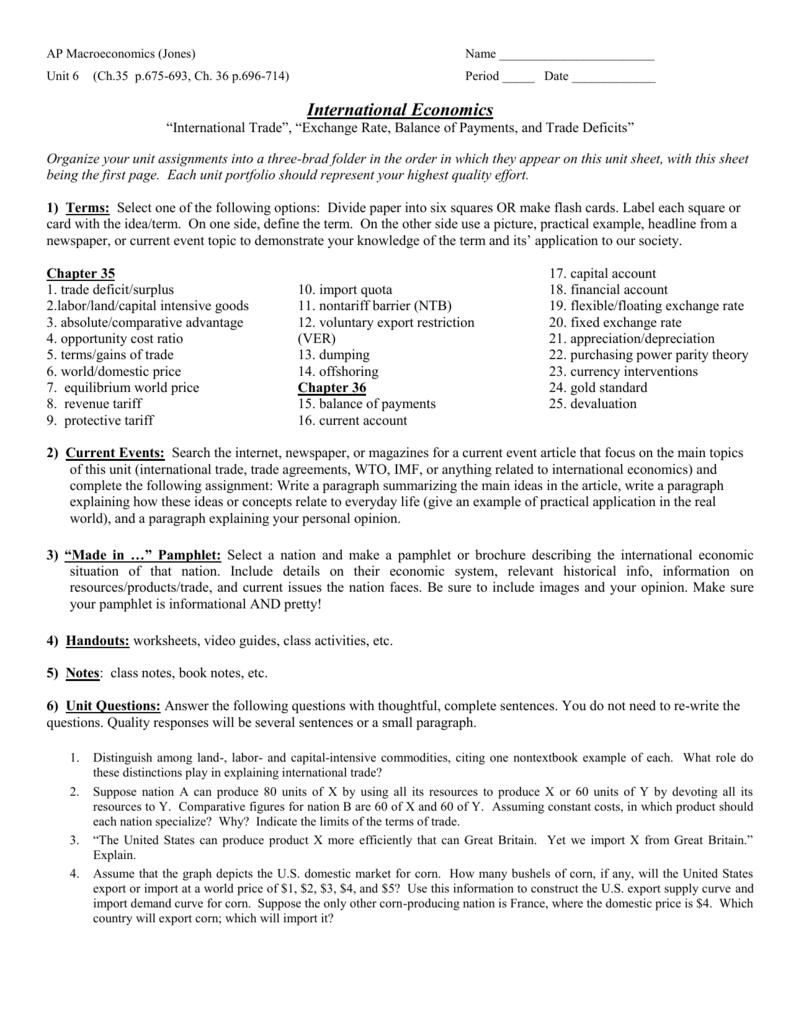 Ap Macroeconomics Jones With Unit 5 International Trade Worksheet Answers