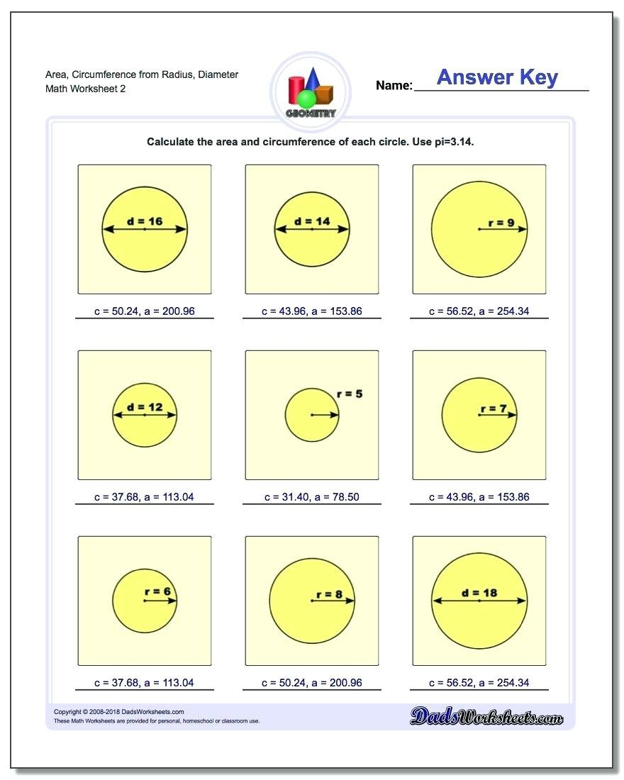 Area Of Circle Worksheet Math Area Circumference From Radius For Area And Circumference Of A Circle Worksheet