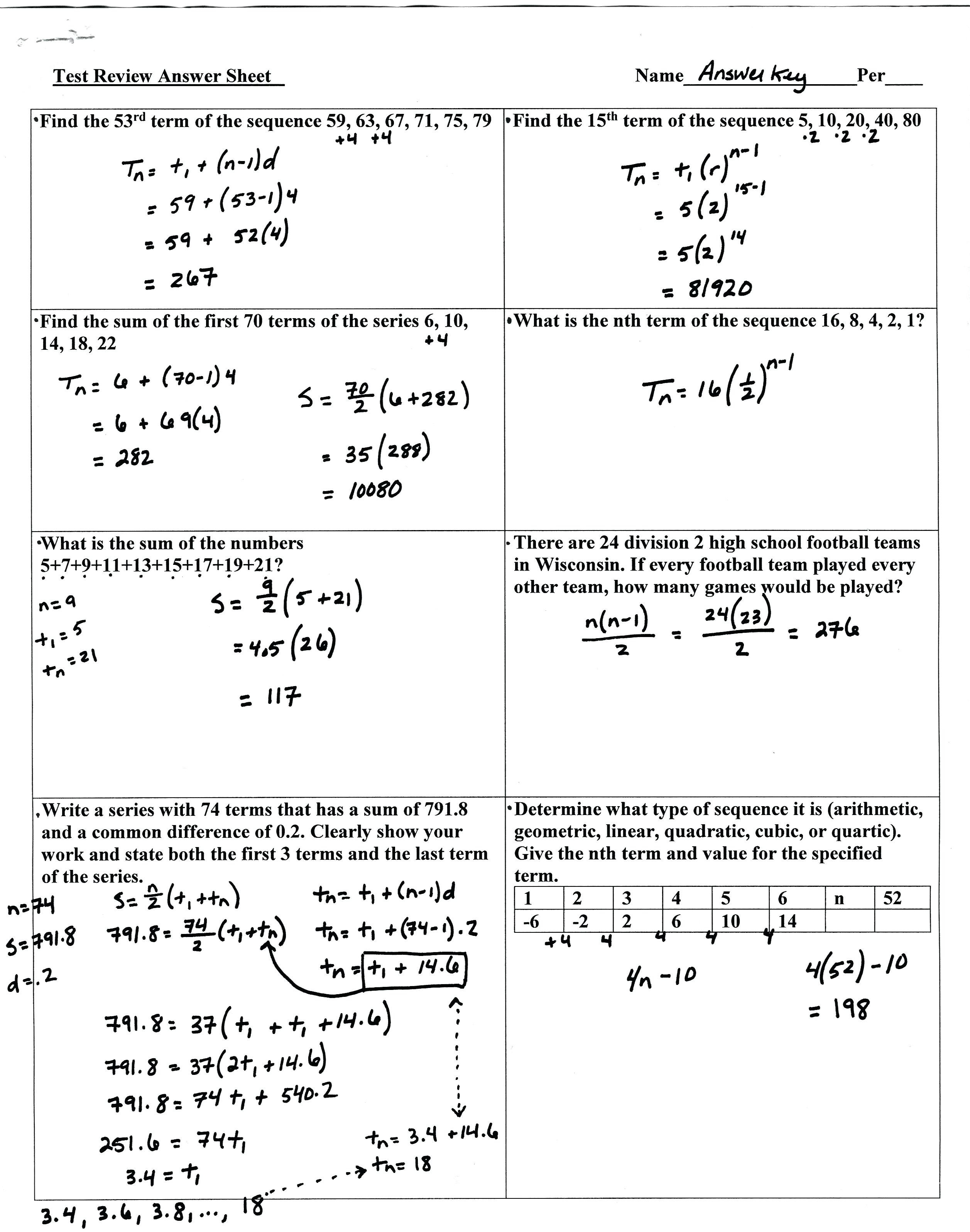 Arithmetic And Geometric Sequence Practice Math For More Help With As Well As Arithmetic Sequence Worksheet Pdf