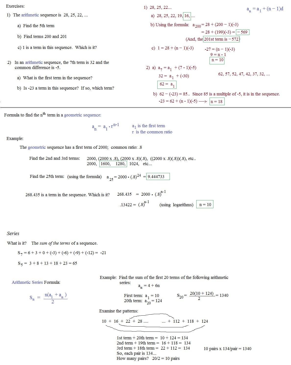 Arithmetic Sequence Worksheet Algebra 1 Pemdas Worksheets Arithmetic With Regard To Arithmetic Sequence Worksheet