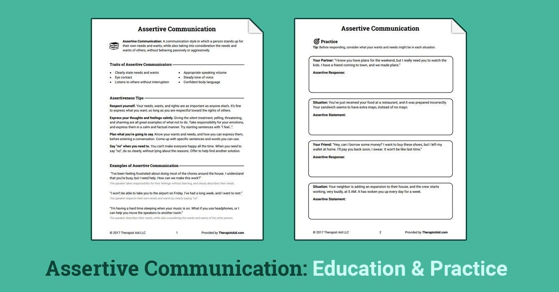 Assertive Communication Worksheet  Therapist Aid Within Assertive Communication Worksheet