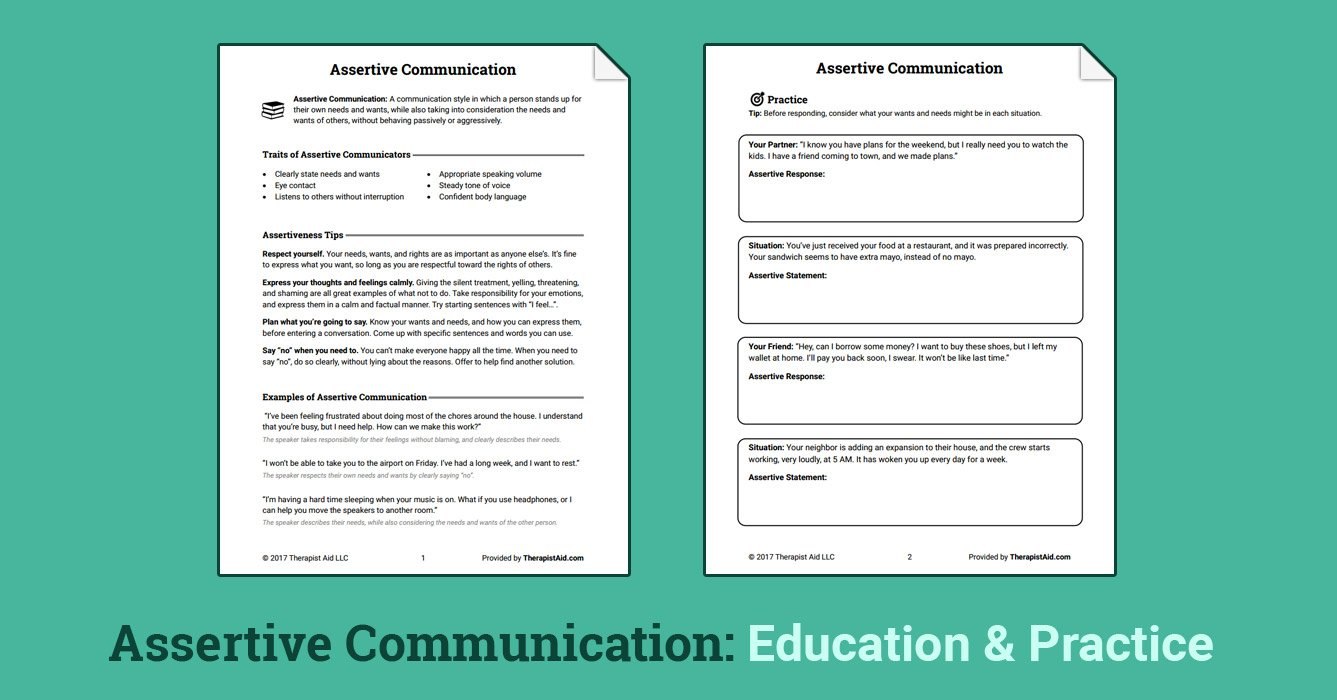Assertive Communication Worksheet  Therapist Aid Within Assertiveness Training Worksheets