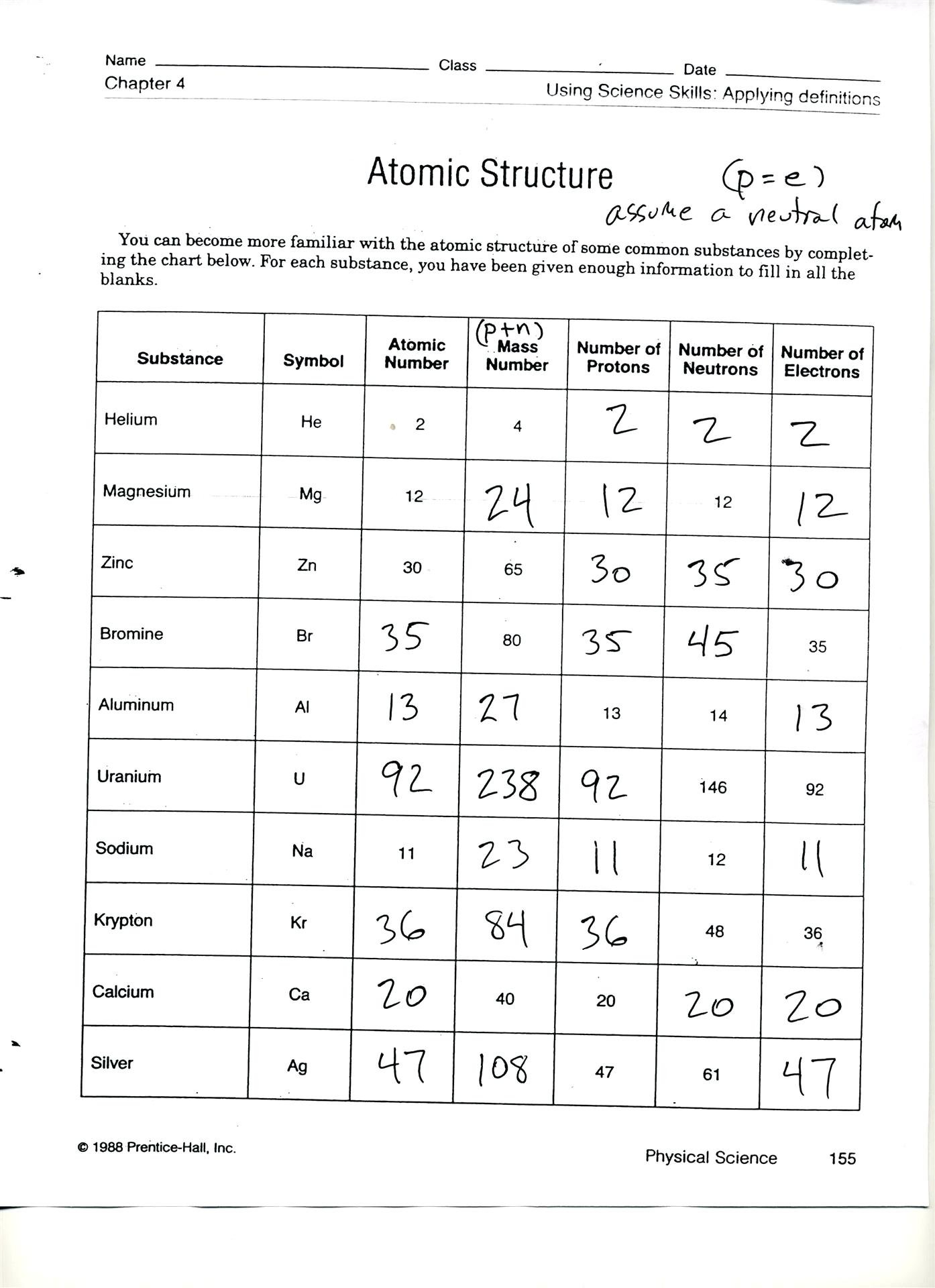 Atomic Structure Worksheet Answer Key — excelguider.com