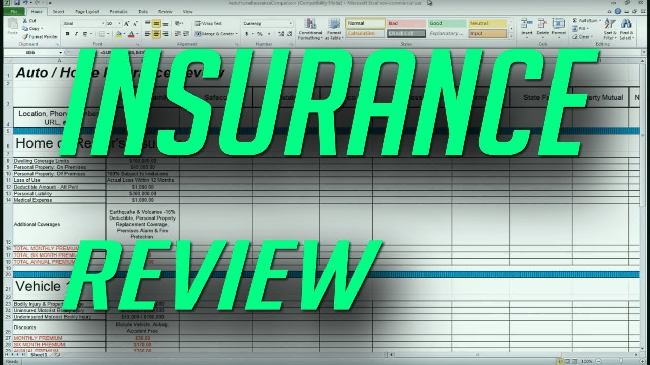 Auto And Home Insurance Comparison Review Spreadsheet   Youtube Along With Auto Insurance Comparison Spreadsheet